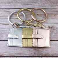 ZWPON Leder Quaste Schlüsselring Karte Halter Tasche für Frauen Männer Leopard Schlange ID Brieftasche Gold Kabaw Mode Armband Keychain