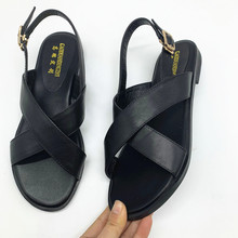 New genuine leather sandals women shoes fashion flat
