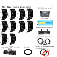 12v 1000W flexible solar panel generator for home Photovoltaic system 2pcs 50A controller 2000W 12V to 110V or Inverter