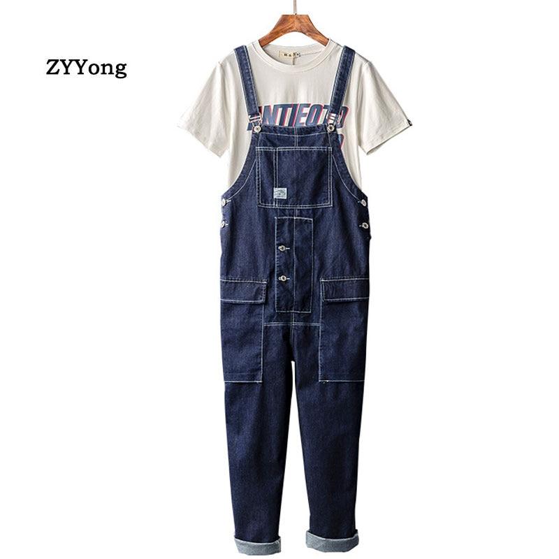 Man Jeans Bib Overalls Fashion Loose Plus Size Hip Hop Homme Denim Jumpsuits Cargo Trousers Blue Leisure Freight Wide Leg Pants