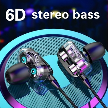 NEW Stereo Wired Double Action Coil Earphone for Samsung Xiaomi High Bass 6D In-Ear Earphones  Earbuds Sport