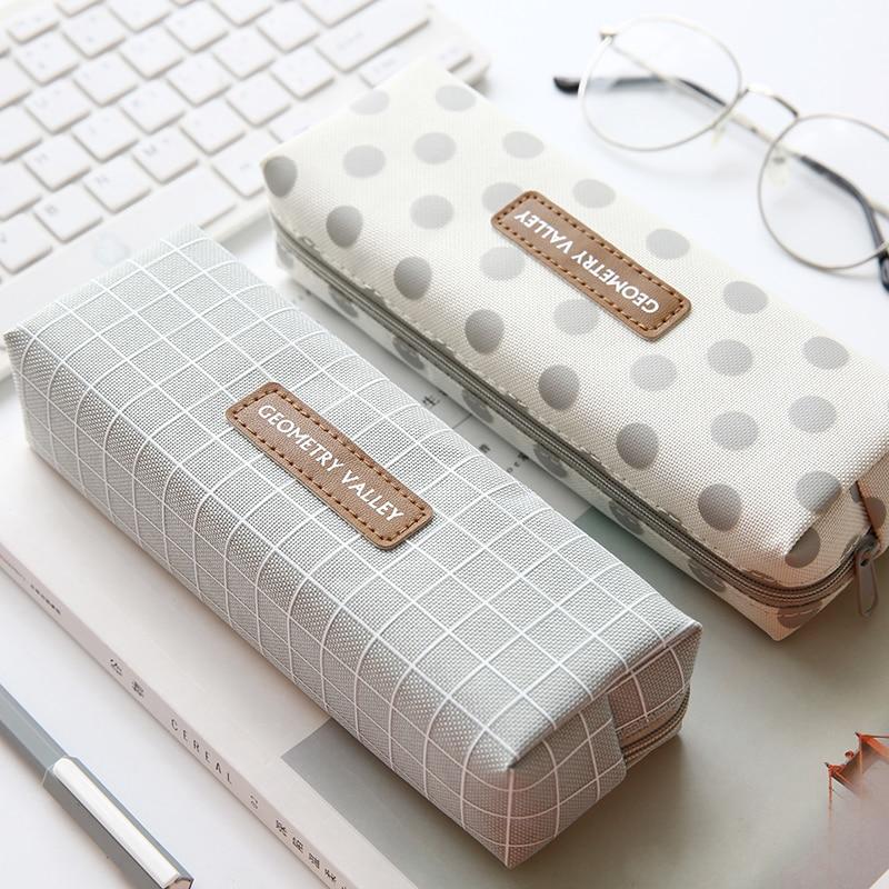 1PCS Fresh Origin Lattice Pencil Case Office Stationery And School Supplies High Capacity Canvas Material Pencil Bag korean bag