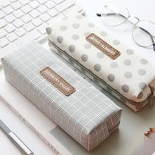 1шт свежий происхождение решетка пенал канцелярские и школьные принадлежности большой емкости холст материал мешок корейский мешок