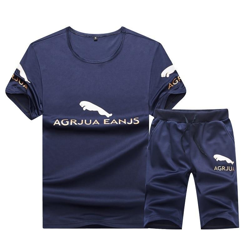 Men's 2020 Summer Short Sleeve Running Set AGRJUA EANJS Print Round Collar Fitness Suit Male Sport Wear Mens Sports Suits