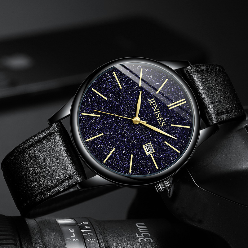 Men 39 s Casual Fashion Brand Luxury Starry sky Watch Men 39 s Quartz Watch Waterproof Calendar Leather Alloy Clock in Quartz Watches from Watches