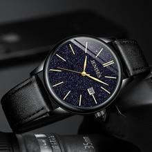 Mens Casual Fashion Brand Luxury Starry sky Watch Quartz Waterproof Calendar Leather Alloy Clock