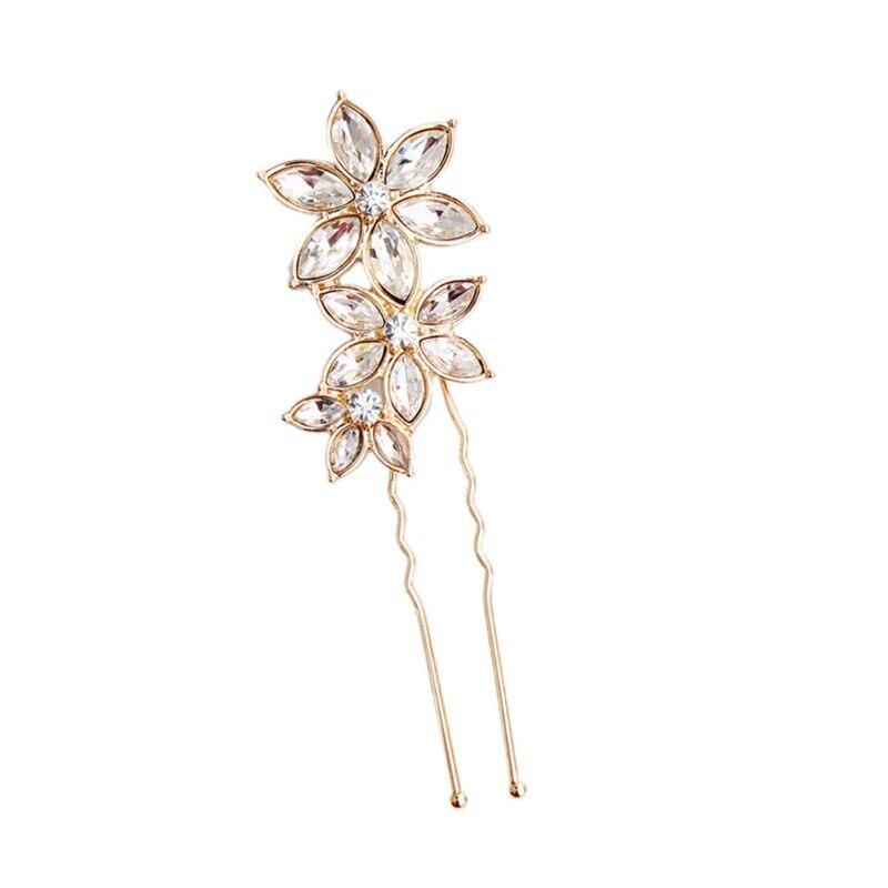 Bridal Imitation Crystal Three Flower Hair Pins Women Rhinestone Wedding U-Shaped Clips Jewelry Bun Ponytail Retro Barrettes