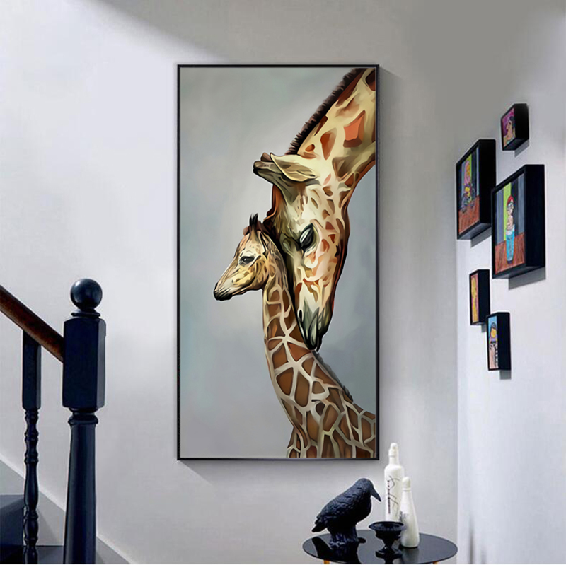 Жираф животное Скандинавское искусство холст живопись на стене
