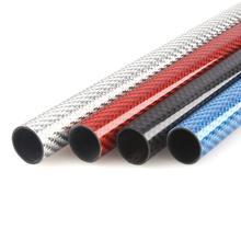 Трубка из углеродного волокна, 2 шт./лот, 500 мм, 3K, блестящая поверхность, синий, красный, серебристый, диаметр 10 мм 12 мм 14 мм 16 мм 18 мм 20 мм 22 мм 24 ...