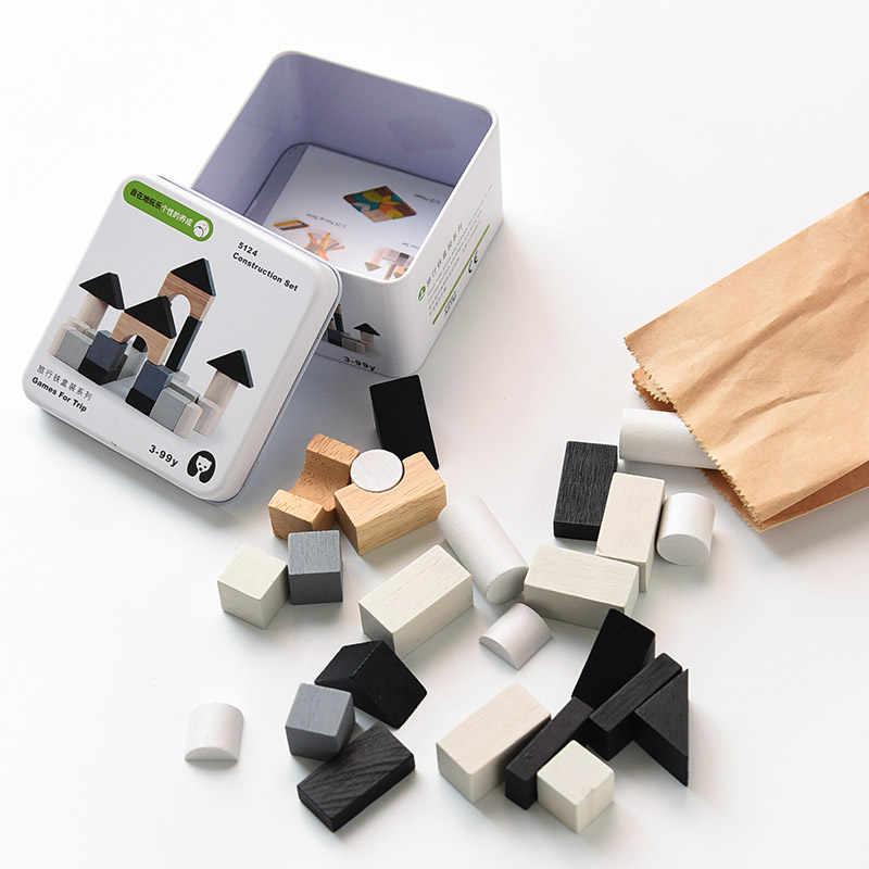 Aprendizagem precoce de madeira educação inteligência bloco de construção brinquedos crianças portátil viagem cognitiva jogo interativo brinquedos presentes