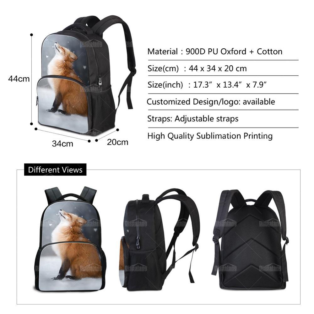 Fox Horse Lion Leopard Zoo Animals Printing Canvas Laptop Backpack Men Cool School Bags Boys Travel Daypacks Male Bookbag Rugtas