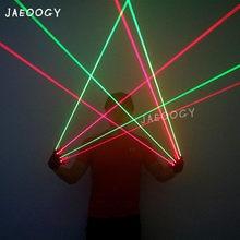 Высококачественные красные и зеленые лазерные перчатки 2 в 1, реквизит для ночных танцев певицы-диджея, световое светильник для рождественс...