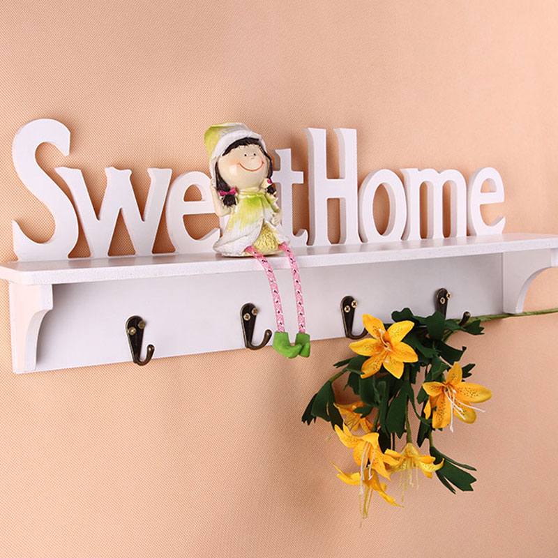 The cheapest online  4 Hooks Sweet Home Organizer Shelf Storage Sweet Home Style Rack Wall Mounted Wall Hanger Decor NAS