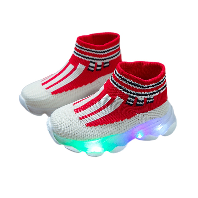 Baby LED Shoes Toddler Indoor Sock Shoes Newborn Baby Sneakers Cotton Baby Girl Sock With Rubber Soles Infant Cool Shoes