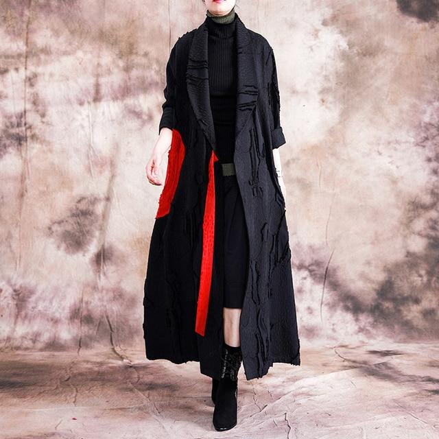 Johnature automne/hiver 2019 nouveau manteau de Trench Vintage femmes col rabattu ample longue Patchwork réglable taille manteau