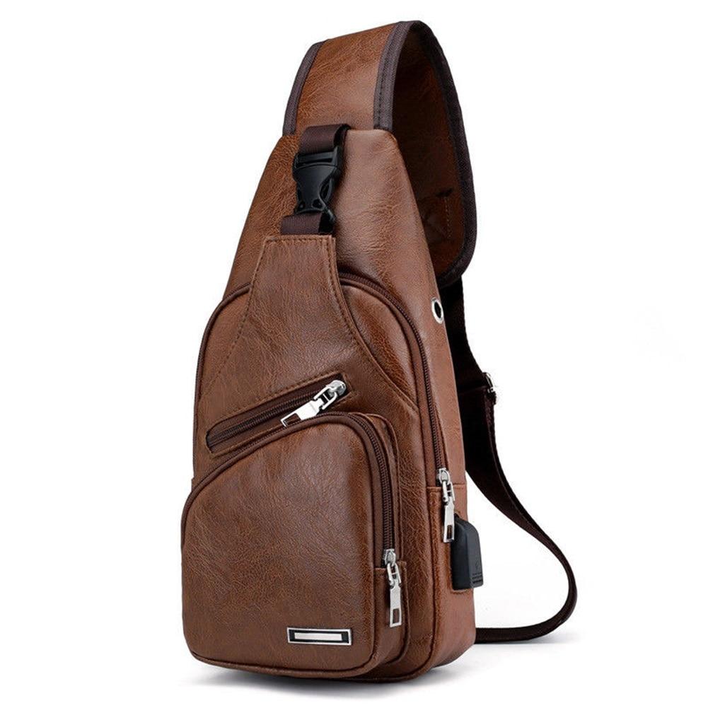 Casual Men's Leather PU Bag Vertical Briefcase Shoulder Messenger Bags