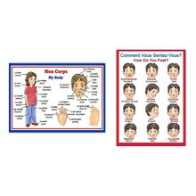 Hanging-Posters School-Teaching-Tools English French Educational And for Expression Body-Parts