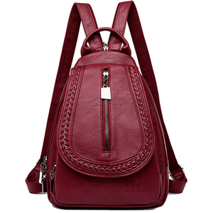 Image 2 - Women Leather Backpacks Zipper Female Chest Bag Sac a Dos Travel Back Pack Ladies Bagpack Mochilas School Bags For Teenage Girls