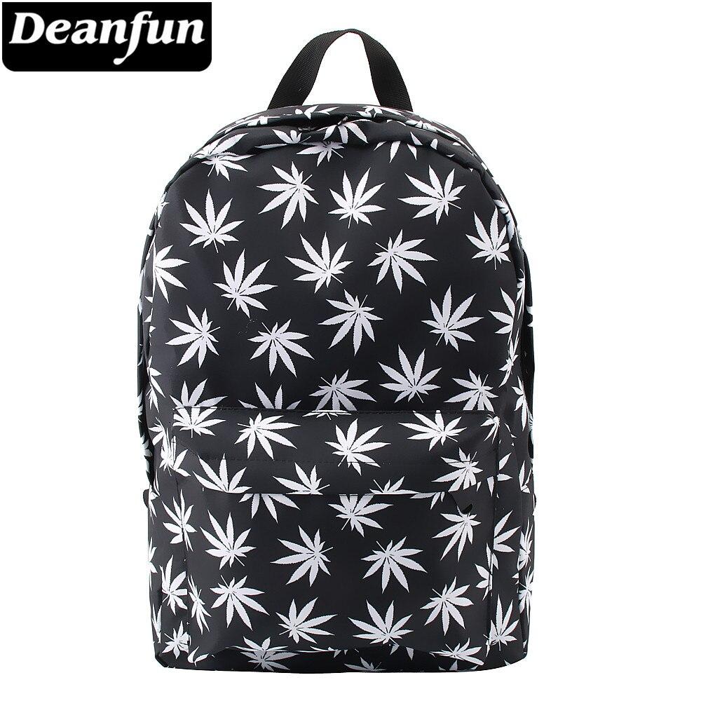 Deanfun School Backpack Hemp Printed Travel Backpack Water-resistant Classic Black School Bags For Teenage Girls 80051