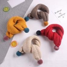 Зимний детский шарф однотонные вязаные мягкие теплые шарфы теплые зимние шарфы для мальчиков и девочек