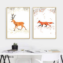 Сафари Для Животные Холст плакат для детской олень» «Лиса» настенный