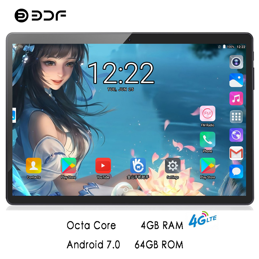 BDF 2019 Tablet 10 Inch 4G LTE Phone Call Android 7.0 Tablet Pc Octa Core 4GB/64GB IPS Tablet WiFi Bluetooth Android Tablet 10.1