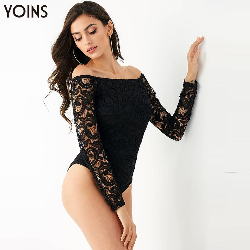 YOINS 2019 Spring Autumn Winter Lace Bodysuit For Women Long Sleeves Off-Shoulder Bodycon Fit Bodysuits Ladies Slim Sexy Black