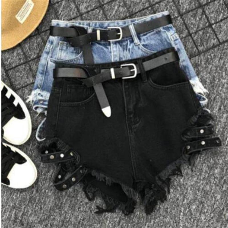 2019 Summer New Fashion Loose Black Wide Leg High Waist Denim Shorts Sexy Hot Jeans Shorts