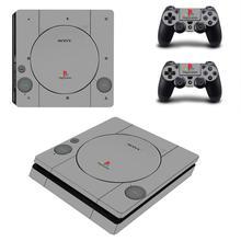 PS1 Stil PS4 Dünne Aufkleber Play station 4 Haut Aufkleber Decals Abdeckung Für PlayStation 4 PS4 Slim Konsole und Controller haut