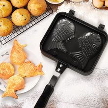 Home 2PCS Taiyaki Japanese Fish-Shaped Bakeware Waffle Pan Maker Cast Tools Japanese Pancake Double Pan Mould high efficiency commercial gas double plate 12pcs fish taiyaki waffle maker machine taiyaki maker commercial