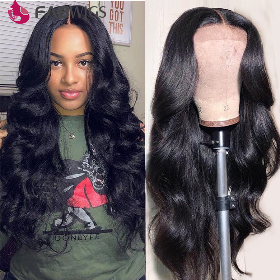 Fabwigs Transparent Lace Wigs 250% Density Lace Front Human Hair Wigs Pre Plucked 13X6 Lace Front Wigs Peruvian Body Wave Wig