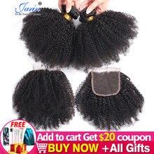 Afro crépus bouclés fermeture 4x4 dentelle fermeture cheveux humains avec des cheveux de bébé pré plumé Hairine libre milieu trois parties Jarin cheveux Remy