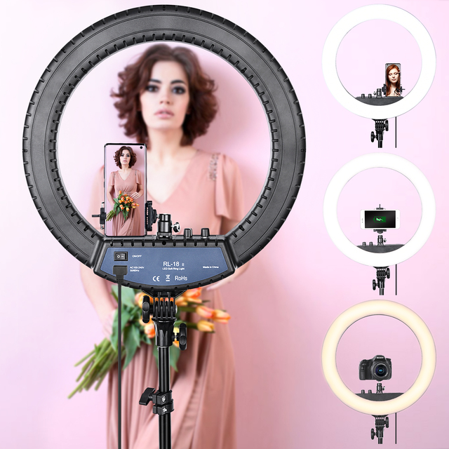 FOSOTO RL-18II Led Ring Light 18 Inch Ring Lamp 55W Ringlight Photography Lamp With Tripod Stand For Phone Makeup Youtube Tiktok 2