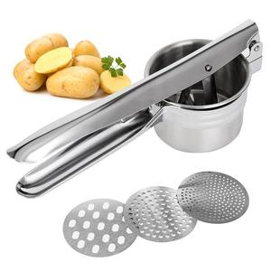 Stainless Steel Potato Ricer Garlic Presser With 3 Interchangeable Disks Fruit Masher Food Press Potato Masher Kitchen Gadget