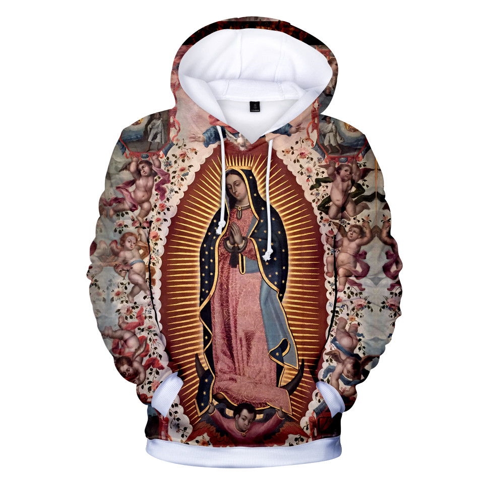 12 To 20 Years Kids Hoodies Our Lady Of Guadalupe Virgin Mary Catholic Mexico Hoodie Sweatshirt Men Women Brand Jacket Clothes