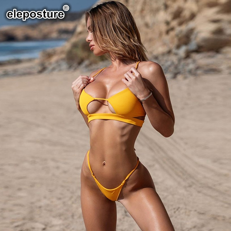 2020 New Sexy Hollow Out Bikini Women Push Up Swimsuit Solid Swimwear Bandage Bikini Set Bathing Suits Beach Wear Swimming Suit