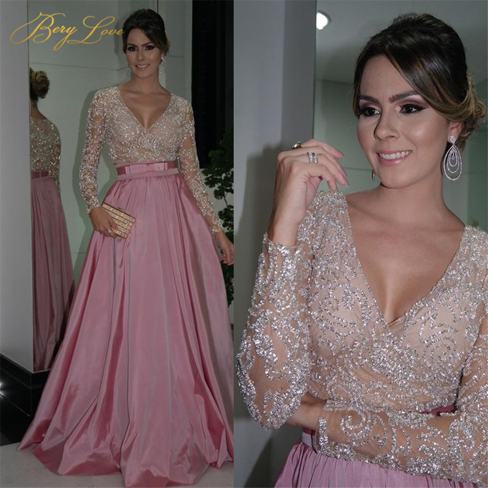 V-neck Bling Bling Tulle Long Sleeves Prom Dress Bow Belt Satin Skirt No Train Long Formal Mom Evening Mother Of The Bride Dress