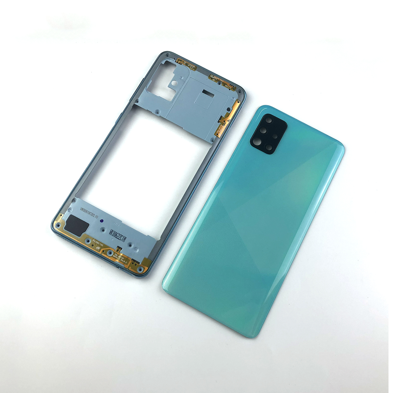 Корпус средней рамки для Samsung Galaxy A51 A515 A515F A515FN A515X + задняя крышка батарейного отсека + крышка объектива камеры + логотип
