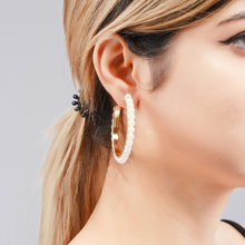 Wuli&baby Simulated Pearl Hoop Earrings 2019 New Fashion Circle Round Statement