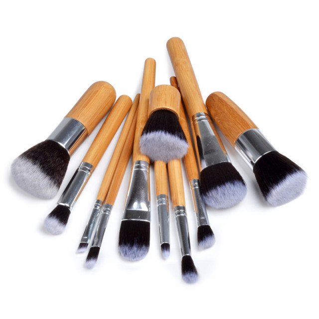 10/11PCS Fashion Bamboo Makeup Brushes Set with Bag Cosmetics Foundation Make Up Brush Tools Kit for Powder Blusher Eye Shadow 1