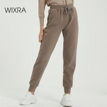 Wixra kobiety dorywczo aksamitne spodnie zimowe damskie grube wełniane spodnie odzież damska sznurowane długie spodnie tanie i dobre opinie Spodnie typu Harem COTTON POLIESTER REGULAR Pełna długość Z KIESZENIAMI CN (pochodzenie) Zima HIGH NB-447 Solid elegancki