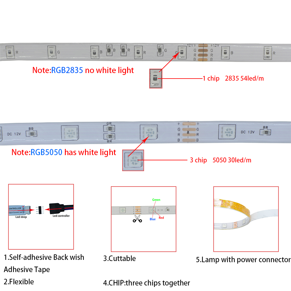 LED Strips Lights Bluetooth Iuces RGB 5050 SMD 2835 Waterproof WiFi Flexible Lamp Tape Ribbon Diode DC12V 5M 10M 15M 20M Color 2
