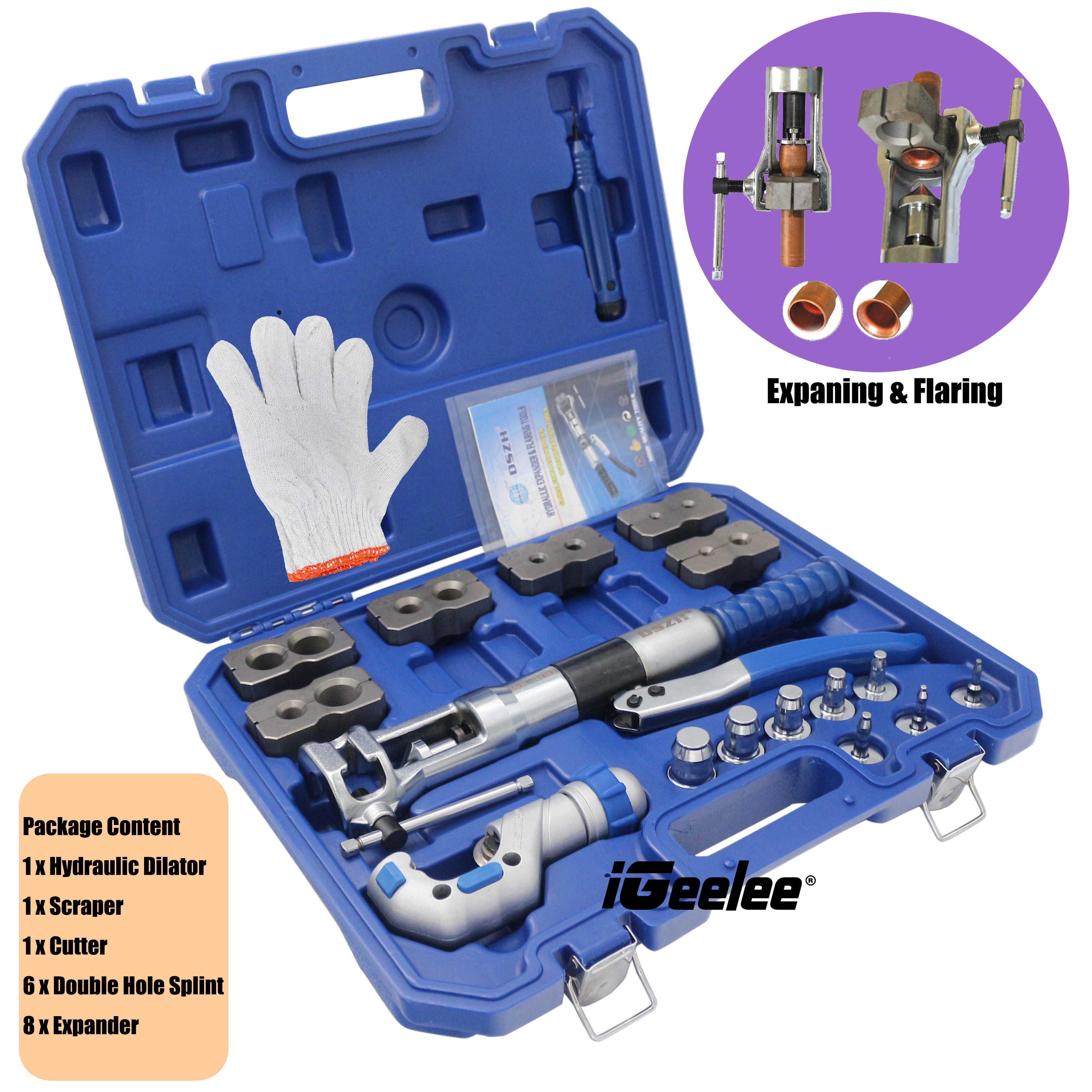 Hydraulic Tube Expander 7 Lever Tubing Flaring Swaging Kits HVAC Tool w// Case