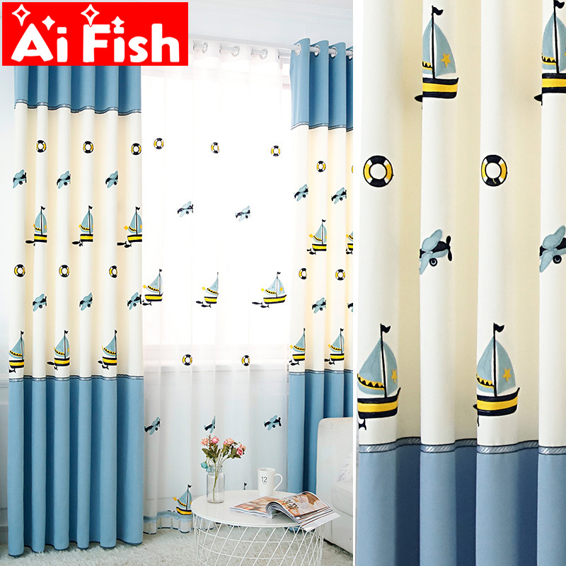 Boutique Embroidered Stitching Sailboat Shading Cloth Blue Cartoon Curtains Boy Girl Children Bedroom Room Drapes Wp429-5