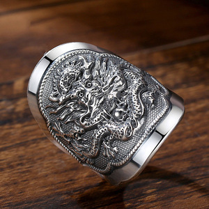 Image 2 - BALMORA 990 Pure Silver Kirin Animal Open Rings for Men Vintage Fashion Thai Silver Ring Gift Party Jewelry Anillos