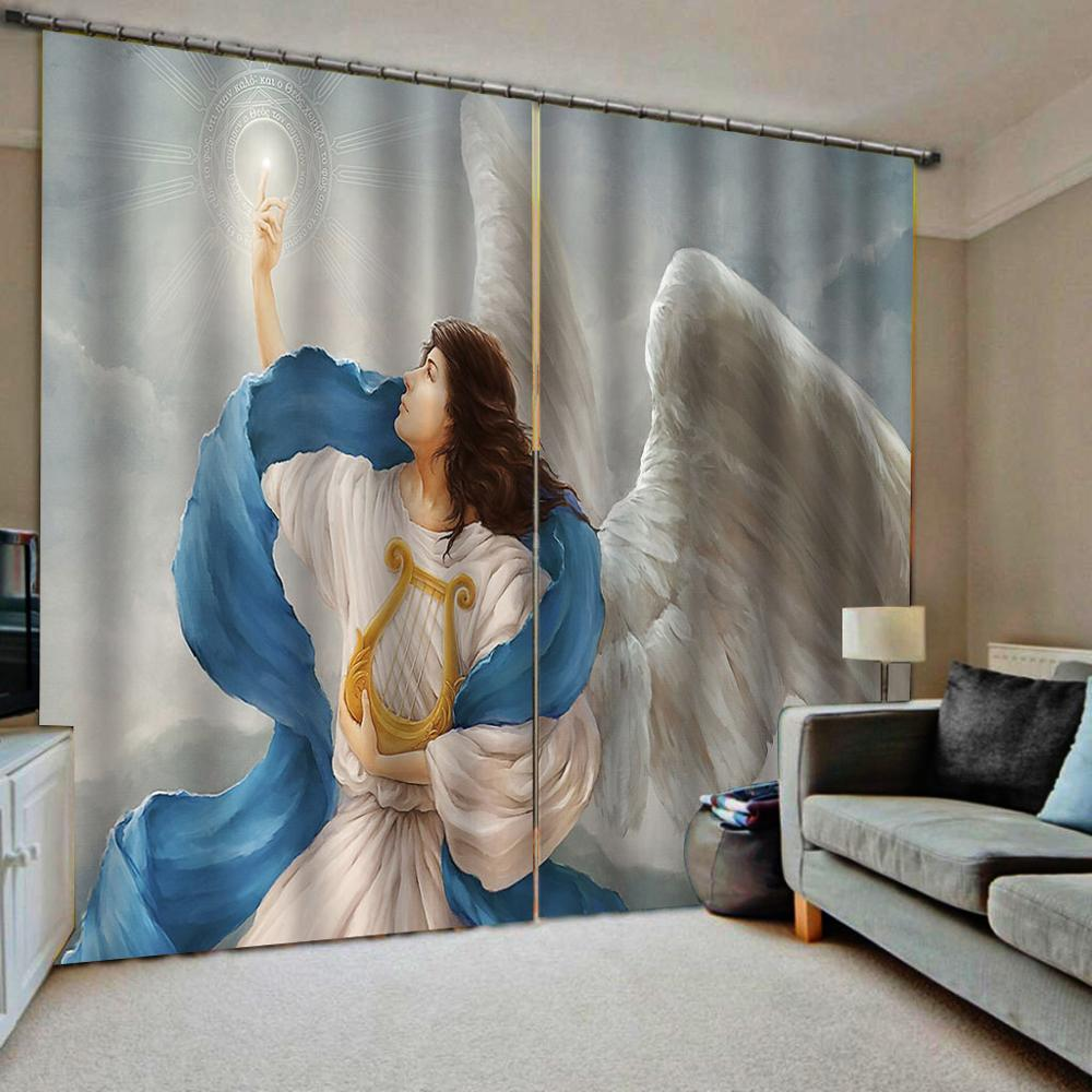 Blackout Curtain Living Room Wedding Bedroom Cortinas Drapes Customized Size Angel Curtains