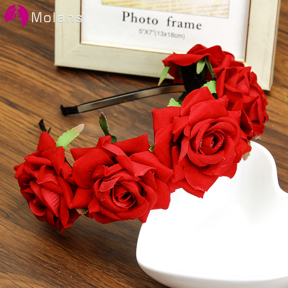 Molans Rose Carnations Peony Flower Halo Bridal Floral Crown Hair Band Wreath Mint Head Wreath Party Wedding Headpiece Bridesmai