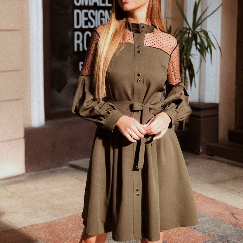 Women Vintage Lace Patchowrk Sashes A-line Party Dress Long Sleeve Stand Collar Solid Elegant Casual Dress 2019 Winter New Dress