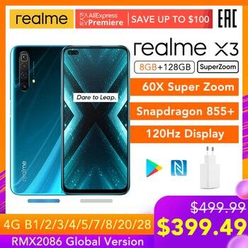 Перейти на Алиэкспресс и купить Realme X3 SuperZoom глобальная Версия 8GB 128GB 60X Super Zoom Snapdragon 855 + 120Hz дисплей 64-мегапиксельная четырехъядерная камера UFS 3,0 30W зарядное устройство
