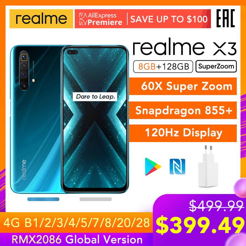 realme X3 SuperZoom Global Version 8GB 128GB 60X Super Zoom Snapdragon 855+ 120Hz Display 64MP Quad Camera UFS 3.0 30W Charger(China)